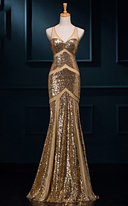 Formeller Abend Kleid - Goldgelb Mit Paillette - Meerjungfrau-Linie / Mermaid-Stil - bodenlang - V-Ausschnitt