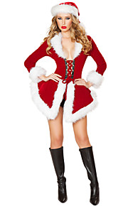 Christmas Costume Women's Performance Polyester / Lycra Sexy Feathers Dress 2 Pieces Red