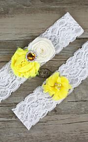 Stretch Satin / Lace Wedding Bride Garter with Flower / Rhinestone