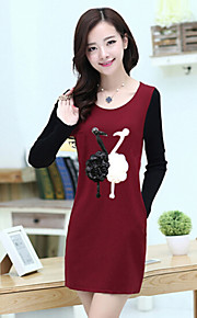 Women's Character Red / Black / Gray Dress , Casual / Cute Round Neck Long Sleeve