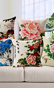 Set of 5 Country Flowers Cotton/Linen Decorative Pillow Cover