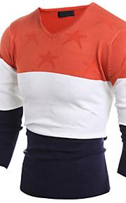 Katoen / Linnen / Spandex - Print / Geruit & geblokt / Effen - Heren - Normaal - Pullover -Informeel / Werk / Formeel / Sport / Grote