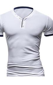 Masculino Camiseta Casual / Escritório / Formal / Esporte / Tamanhos Grandes Cor Solida Algodão / Náilon / Poliéster / ElastanoManga