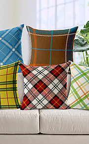 Set of 5 Geometric Pattern Cotton/Linen Decorative Pillow Cover