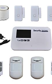 stem SIM-kaart gsm alarmsysteem quad-band draadloze bedraad voor huis beveiliging met 3 deur sensor 2 PIR-detector