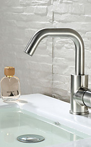 rustfritt stål ett håndtak bad vasken servantkran blandebatteri kjøkken trykk børstet nikkel