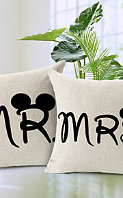 Set of 2 Romantic Love Cotton/Linen Decorative Pillow Cover