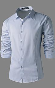 Мужской На каждый день / Для офиса / Для торжеств и мероприятий Мужской Рубашка Однотонный , Длинный рукав , Другой
