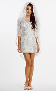 robe de mariée gaine / colonne - ivoire court / mini dentelle bateau / tulle