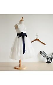 Linea-A Al ginocchio Abito da damigella d'onore bambina - Raso / Tulle Senza maniche Con decorazione gioiello con