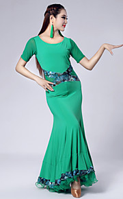 Imported Nylon Viscose with Draped Ballroom Dance Dresses for Women's Performance(More Colors)