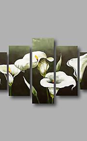 listo para colgar arte de la pared de la lona pintura al óleo estirada enmarcado pintados a mano blancos lirios abstractos modernos cinco