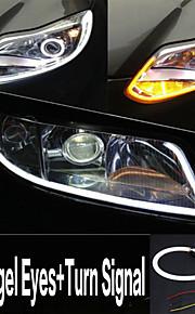 Yobo 6W 450-550lm 60mm dagtimerne angel-eyes + blinklys hvid + gul farve høj effekt bil LED lys lampe (DC12V / 2stk)