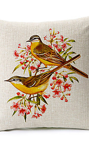 Country Style Birds Pattern Cotton/Linen Decorative Pillow Cover