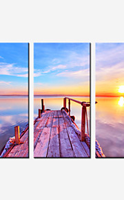 Landschaft / Romantisch Leinwand drucken Drei Paneele Fertig zum Aufhängen , Horizontal