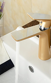 hedendaagse chroom&schilderij messing warme en koude enkel handvat badkamer wastafel kraan wastafelmengkraan