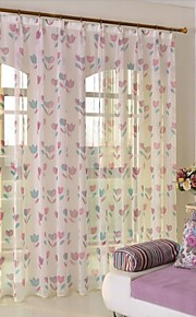 Two Panels European Contracted Style Printing Gauze Shade