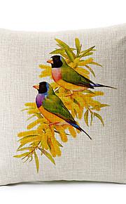 Country Birds Family Cotton/Linen Decorative Pillow Cover