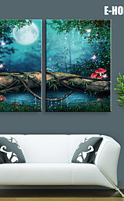 Landskap Canvastryck Två paneler Redo att hänga , Vertikal