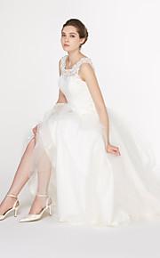 robe de mariée une ligne - - de lanting ivoire cheville cuillère dentelle / tulle