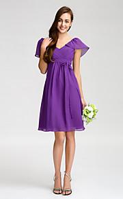 Lan TingKnee-length Chiffon Bridesmaid Dress - Regency Sheath/Column V-neck