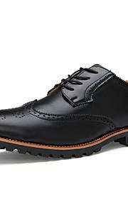 Homme-Bureau & Travail Décontracté Soirée & Evénement-Noir Brun claire-Talon Plat-chaussures Bullock-Oxfords-Cuir