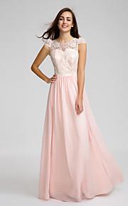 Lan TingFloor-length Chiffon / Lace Bridesmaid Dress - Pearl Pink Sheath/Column Jewel