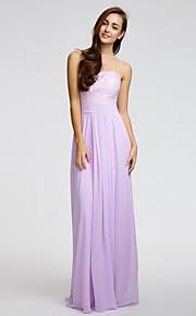 Lan TingKnee-length Chiffon Bridesmaid Dress - Lavender Sheath/Column Strapless