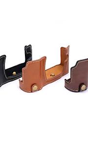 dengpin pu læder halv kamerataske taske cover base for Olympus E-M10 EM10 (assorterede farver)