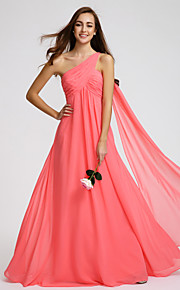 Lan Ting Floor-length Georgette Bridesmaid Dress - Watermelon A-line One Shoulder