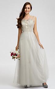 Lan TingKnee-length Tulle Bridesmaid Dress - Silver Sheath/Column Straps