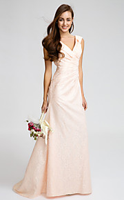 Lan TingSweep/Brush Train Lace Bridesmaid Dress - Pearl Pink A-line V-neck