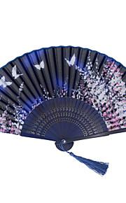 Japanese Blue Flowers Butterflies Bamboo Folding Silk Fans- 1 Piece/Set Hand Fans Floral Theme Blue