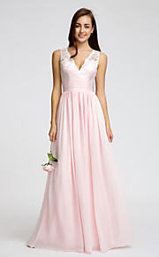Lan TingFloor-length Chiffon Bridesmaid Dress - Blushing Pink A-line V-neck