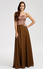 Lan TingFloor-length Chiffon / Satin Bridesmaid Dress - Brown Sheath/Column Strapless