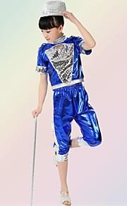 Jazz Outfits Children's Performance Sequined Sequins 2 Pieces Sleeveless Top / Shorts S:28cm  M:30cm  L:32cm  XL:34cm  2XL:36cm