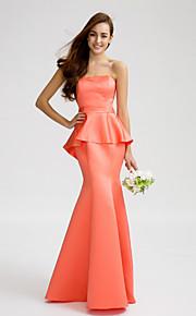 Lan TingFloor-length Satin Bridesmaid Dress - Watermelon Trumpet/Mermaid Strapless