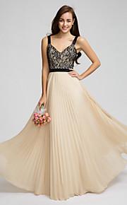 Lan TingFloor-length Chiffon Bridesmaid Dress - Champagne A-line Straps