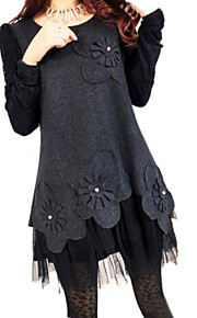 Women's Round Collar Plus Size Lace Patchwork Dress