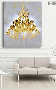 E-HOME® Stretched LED Canvas Print Art Golden Chandeliers LED Flashing Optical Fiber Print One Pcs