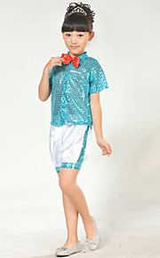 Jazz Outfits Children's Performance Sequined Sequins 2 Pieces Blue / Red / Yellow Jazz Sleeveless Top / Shorts