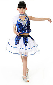 Jazz Outfits Children's Performance Sequined Sequins 3 Pieces Blue / Gold / Red Jazz Sleeveless Top / Vest / Shorts