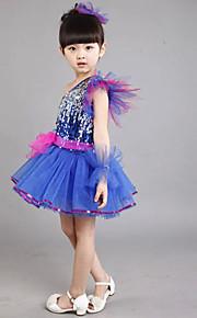 Jazz Outfits Children's Performance Sequined Sequins 2 Pieces Sleeveless Dress / Headpieces S:68cm  M:70cm  L:72cm  XL:74cm