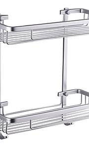 Espacio Aluminio Doble Square cesta del almacenaje con ganchos