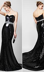 Официальный вечер Платье - Черный Русалка Сердцевидный вырез Со шлейфом средней длины С блестками