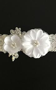 Garter Lace Flower / Imitation Pearl Ivory