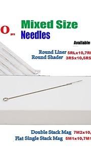 BaseKey 100Pcs Disposable Sterile Tattoo Needles Mixed (RS:3,5,7 RL:5,7,9 M1:5,7  M2:7,9)x10