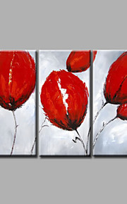 """estirada (listo para colgar) pintura al óleo pintado a mano 48 flores modernas """"x32"""" arte de la pared de la lona tulipanes rojos"""