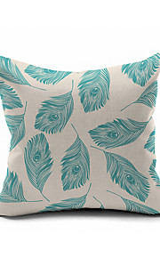2016 New Arrival Peacock Feather Cotton/Linen Pillow Cover , Nature Modern/Contemporary  Pillow Linen Cushion