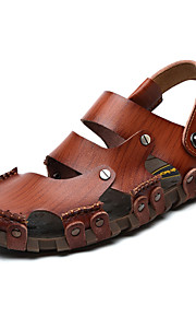 Men's Shoes Nappa Leather Outdoor / Casual Sandals Outdoor / Casual Sports Sandals Flat Heel Hollow-out Brown